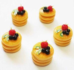 Set of 5 Dollhouse Miniature Pancakes with Fruit * Doll Mini Food Breakfast