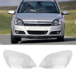 Left + Right Headlight Headlamp Lens Cover Fits For Astra Vauxhall H Mk5 2004-10