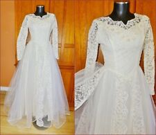 VTG 1950s 50s LACE TULLE Sequin Embroidered Royal Wedding Formal Gown Maxi DRESS