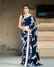 Saree Bollywood Style Velvet Fancy Fabric & Unstitched Blouse Party Wear LG-1081