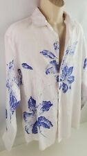 Tommy Bahama Mens Floral Linen Shirt LARGE Blue White Long Sleeve