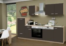 Küchenblock mit Chrom Kochmulde und Geschirrspüler Classic 270 cm in lava matt