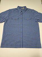 LL Bean Button Up Shirt Mens Large Blue Plaid Short Sleeve Polyester