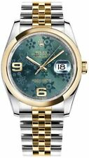 New Rolex Datejust 36 Green Floral Dial Yellow Rolesor Womens Watch 116203-GRNFJ