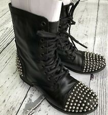 Vintage Black STEVE MADDEN Studded Combat Boots Tarney Motorcycle Boots Size 7.5