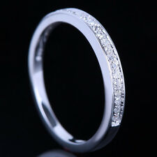 Solid 14K White Gold Real Diamonds Eternal Promise Bride Engagement Wedding Band