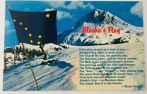 Vintage Alaska AK Alaska State Flag on Mountaintop Postcard 1969