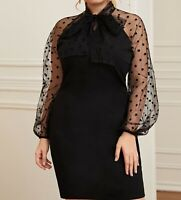 Plus Size Tie Neck Lace Bishop Sleeve Long Sleeve Elegant Bodycon Dress Casual