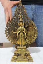 "16"" Tibetan bronze gild Avalokitesvara Thousand-hand Bodhisattva Kwan-yin Statue"