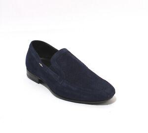 Luigi Traini 52004 Navy Suede Leather Elastic Loafers Shoes 43.5 / US 10.5