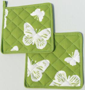 2x Guantes para el Horno Mariposas Kracht Cocina Decoración Asar Platillo Verde