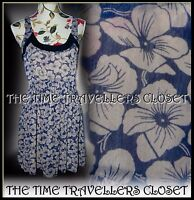Kate Moss Topshop Blue Cream Chiffon Velvet Floral Pansy Skater Dress UK 12 14