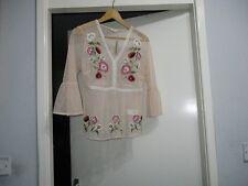 Beautiful Pink mesh floral embroidered peplum hem top £28.00