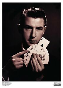 RARE Vintage Print Poster Card Player Magician ACE OF CLUBS Portrait Photography