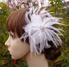 White Feather Flapper Big Diamante Flower Clip  Fascinator Hairdress Bridal WED