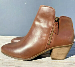"""FRYE """"JUDITH"""" WOMEN'S DOUBLE ZIP BROWN LEATHER ANKLE BOOTS SIZE 7.5M"""