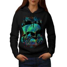 Wellcoda Grenade War Gas Skull Womens Hoodie, Gas Casual Hooded Sweatshirt