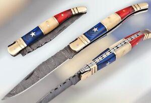 DAMASCUS STEEL TEXAS FLAG FRENCH LAGUIOLE POCKET,FOLDING KNIFE BONE & WOOD; 833