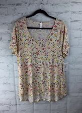 LuLaRoe, NEW With Tags; Classic Tee, 2XL; Yellow Orange Red Patten On Cream