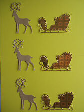 "6 Tonic Die Cut Embellishments ""Stag & Sleigh"""