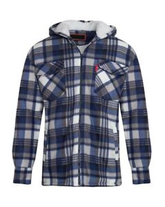 Unisex Mens Fleece Sherpa Fur Lined Lumberjack Check Quilted Hood Thermal Shirt