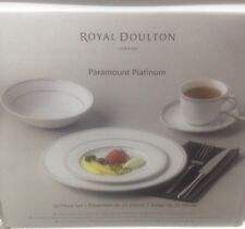 Royal Doulton PARAMOUNT PLATINUM 20 Piece 4 Person Includes 4 Cups & Saucers NEW