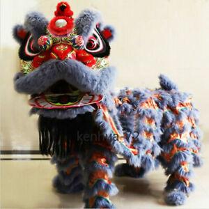 Chinese Foshan Lion Dance Mascot Costume Huang Feihong South Lion / Grey 舞狮