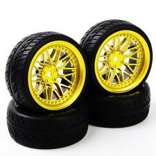 4Pcs Rubber Tires WheelRim BBG+PP0150 For HSP RC 1:10Flat Racing On Road Car