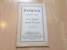 Paciencia Bunthorne'S Novia Vintage partitura vocal W S Gilbert Sullivan Chappell