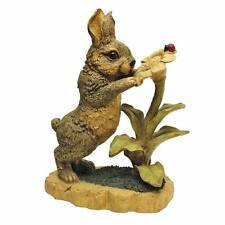 "Flower Friends Lawn Garden Bunny Rabbit 14½"" Hand Painted Resin Animal Statue"