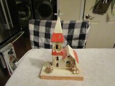 Vintage Putz Made In Japan Cardboard Christmas Large Church 1940s 50s
