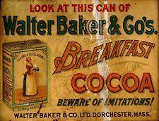 "TIN SIGN ""Walter Baker Cocoa"" Chocolate Deco Garage Wall Decor"