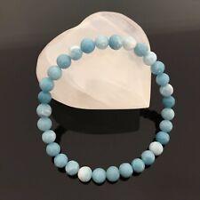Handcrafted 6mm Genuine Natural Larimar Crystal Energy Bracelet UK
