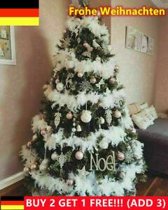 2M Weihnachtsbaum weiße Feder Dekoration Boa Streifen Weihnachtsband Girlande DE