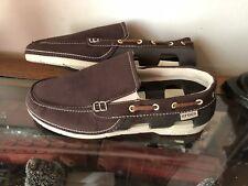 Crocs 15386 Beach Line Brown Nylon Canvas Slip-on Loafer Boat Shoe Men's Size 9