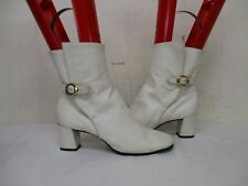 JOHANSEN ETTES White Leather Buckle Ankle Boots Womens Size 7 AA USA