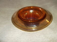 VINTAGE AMBER CARNIVAL GLASS SMALL POSY BOWL FLYING SAUCER STAR BASE BAGLEY ?