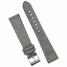 B & R Bands 19mm Gray Italian Classic Suede Watch Band Strap