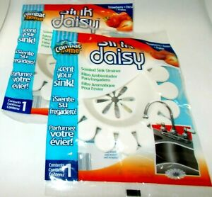 2 SINK DAISY Scented Sink Strainers Keeps Sinks Smelling Fresh STRAWBERRY NIP
