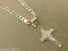 Men's Lady's Silver Plated 24in Inch Long Valentino Necklace & Small Cross Set