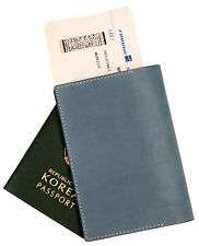 Whole leather passport holder case Waxy Blue cover wallet card protect travel