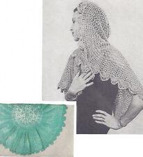 Vintage Crochet PATTERN Fascinator Wrap Shawl Scarf Mantilla Head Covering