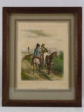 ELEGANTE LITHOGRAPHIE ANCIENNE ENCADREE, P. Gavarni, chevaux, cavaliers