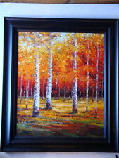 ORG LANDSCAPE PAINTING W/ AUTUMN BIRCH TREES P. COLLINS
