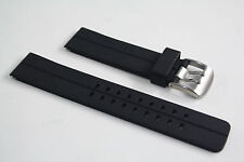 Black Rubber Heavy Watch Band STRAP s/s Buckle  For Luminox with 2 pin 22mm