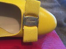 Ferragamo  Canary Yellow Vara  EU 8.5 B   EU 6 BNIB