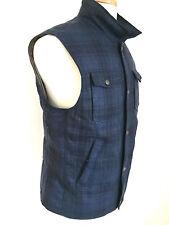 NWT BRUNELLO CUCINELLI Men Blue Plaid Vest Jacket Size L