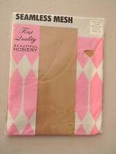 Seamless Mesh Hosiery Stockings/Nylons- Beige- Size 10M - 1 pair
