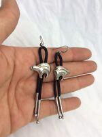Beautiful Southwestern Sterling 925 Bear Bolo Wire Earrings