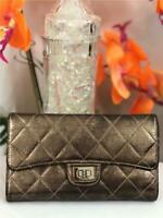 CHANEL Classic Metallic Silver Quilted Reissue Flap Wallet w. Inner Coin Pocket
